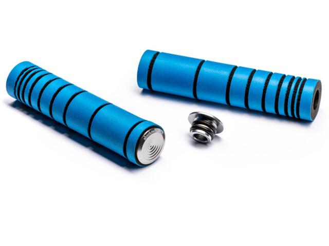 absoluteBLACK Dual Density MTB Silikon Griffe mit Alu Lenkerstopfen fluo blue